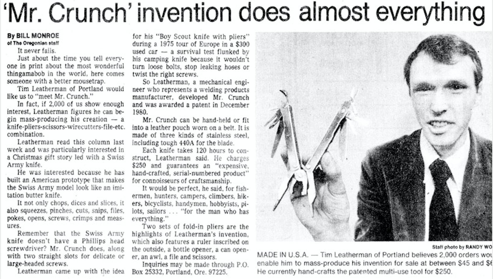 Matéria de Jornal com Tim Leatherman na época da invenção