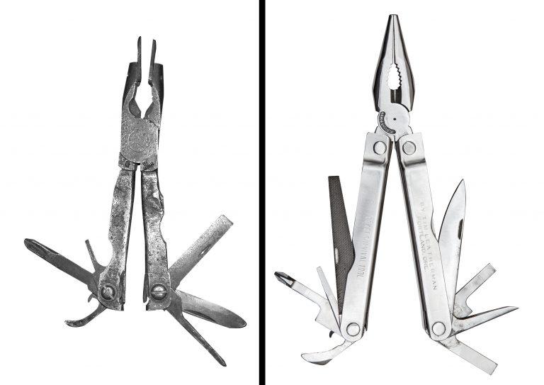 PST (Pocket Survival Tool): o protótipo (esquerda) e a ferramenta acabada após ser produzida (direita)