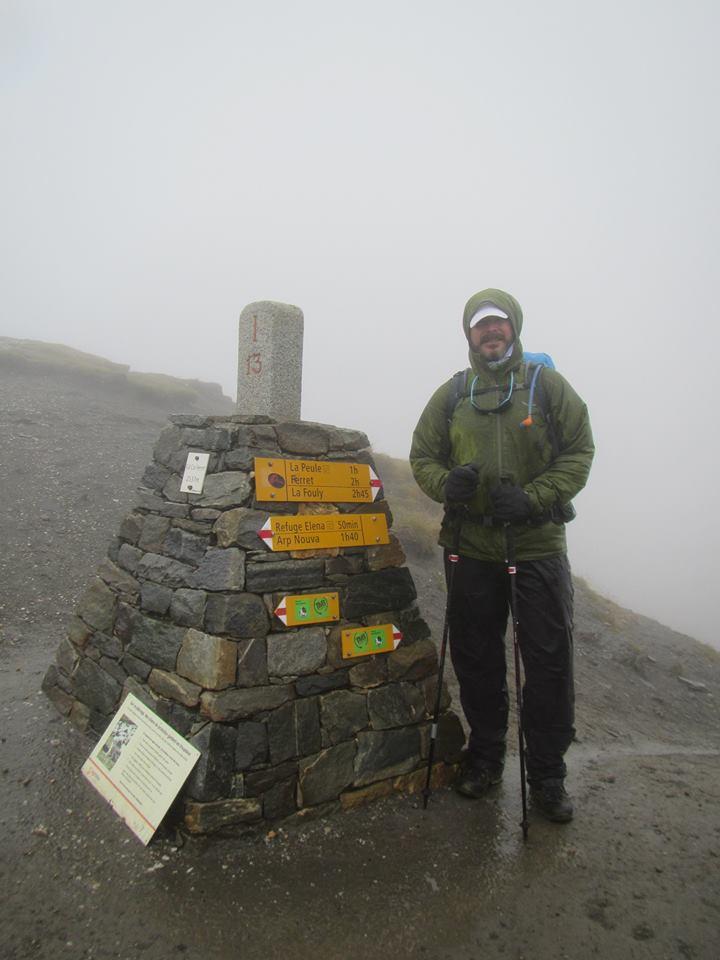 Pedro no Col de Ferret, durante o Tour du Mont Blanc