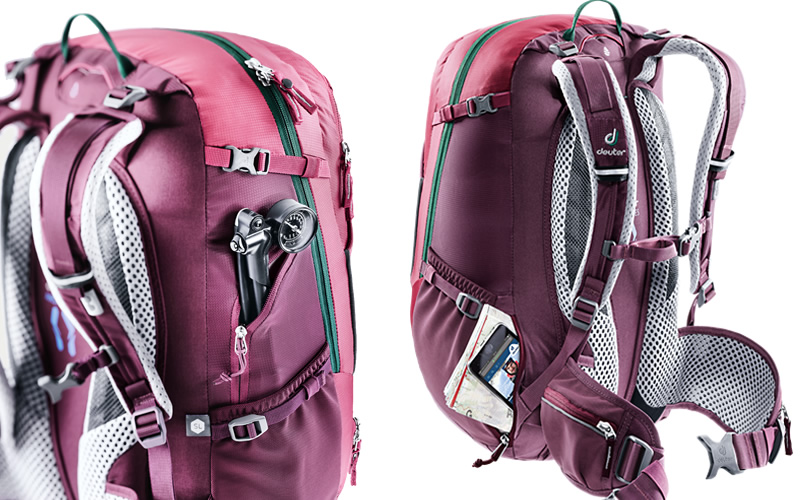 Uma mochila com bolsos especiais para os ciclistas