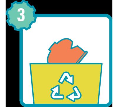 Descarte o cartucho de gás para reciclagem