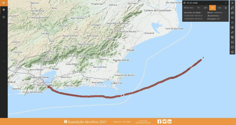 Mapa de rastreamento compartilhado da SPOT - viagem de barco