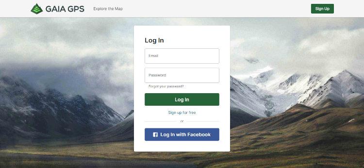 Crie a sua conta gratuita no site do Gaia GPS