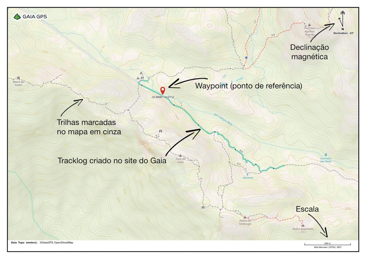 Imagem com exemplo de um mapa exportado no Gaia GPS Premium