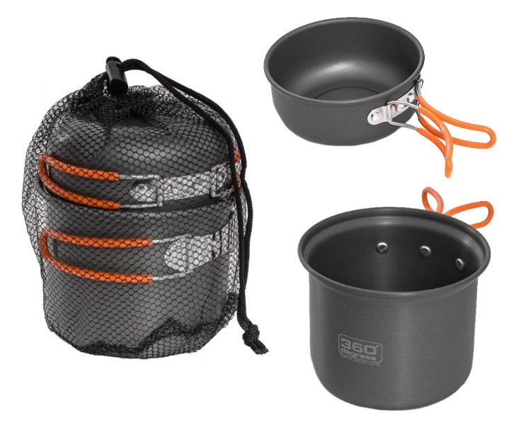 Panelas de camping em alumínio Kit Furno Stove and Pot Set 360 Degrees
